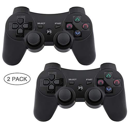 Autker PS3 Controller Wireless 2 Pack Playstation 3 Controller Double Vibration Bluetooth Dualshock 3 für PS3 mit 2 Ladekabeln schwarz