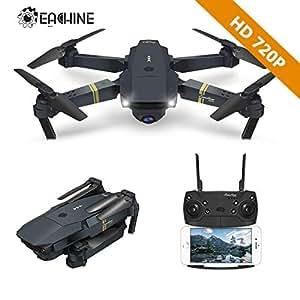 EACHINE Drohne mit Kamera E58 Live Übertragung,120°Weitwinkel 720P HD Kamera, WiFi FPV Quadrocopter, App-Steuerung, One Key Start/Landung,Headless Modus,Pocket Drohne für Anfänger,Schwarz