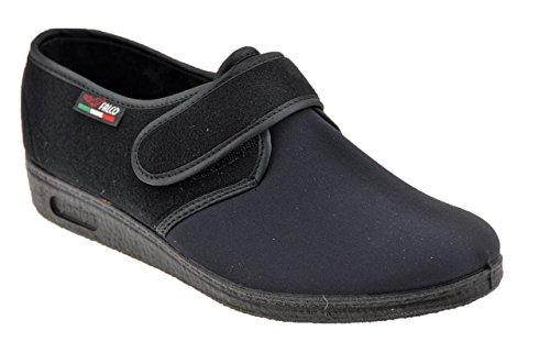 Gaviga 902 Velcro Pantofole Nuovo Scarpe Donna Nero