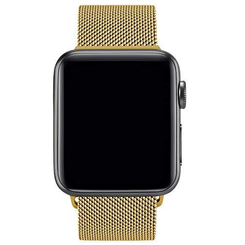 Preisvergleich Produktbild Amzpas Ersatzarmband kompatibel mit für Apple Watch Armband Edelstahl Armband,  Smartwatch Ersatzarmbänder mit Magnet kompatibel mit Apple Watch Series 1 / 2 / 3 / 4 (07 Gold,  38mm / 40mm)