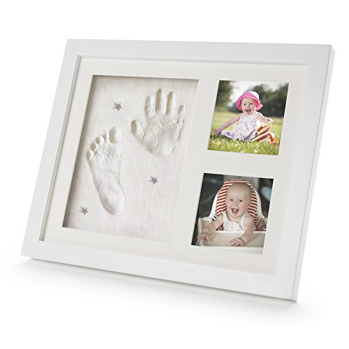 Baby Hand & Footprint Kit - Picture & Photo Frame Set includes 3 Large Premium Ready Made Clay Bags with Charms and Birth Record for Keepsake Registry Christening Newborns Baby Shower Birthdays Toddlers for Boys and Girls. A Beautiful and Decorative Handmade Gift Set for Wall and Table Decor by Antonio Coure