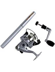 TOOGOO(R)Mini Pocket aluminio boligrafo cana de pescar telescopica+ carrete pesca (Plata)
