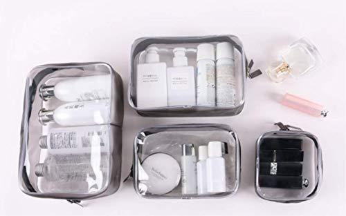 Kulturbeutel 4 In 1 Geschenk Make-Up Taschen & Koffer Plastiktüte Klar PVC Reisetasche Bürsten Veranstalter Für Männer Und Frauen Travel Business Bad 4 pcs -