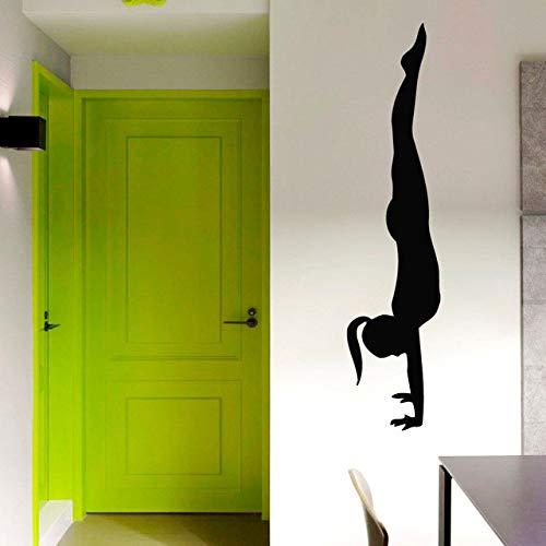 Schwarz Gedruckt Selbstklebende Handstand Mädchen Wandaufkleber Yoga Pose Home Decor Vinyl Kunst Wandbilder 116x29 cm