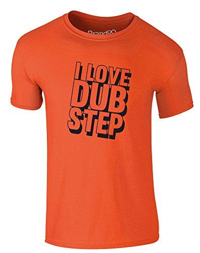 Brand88 - I Love Dub Step, Erwachsene Gedrucktes T-Shirt Orange/Schwarz