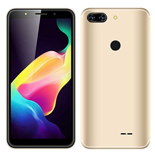 SIM-Free Mobile Phones,Unlocked 5.0 Inch Android 7.0 Smartphones ,MTK6580 Quad Cores,1GB RAM & 4GB ROM, HD 5.0MP Beauty Camera,3G/GSM Dual SIM Cell Phone (Champagne Gold)