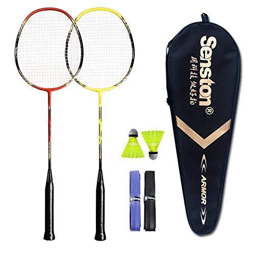 Senston 2 Player Badminton Set Carbon Badmintonschläger Graphit Badminton Schläger Perfect Badminton Schlaeger mit Schlägertasche - 3 Farbe