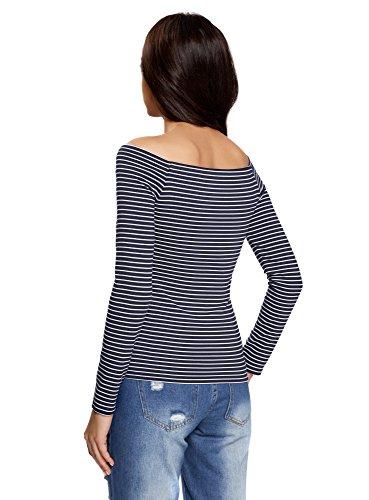 oodji Ultra Damen Langarm-T-Shirt mit U-Boot-Ausschnitt Blau (7910S)