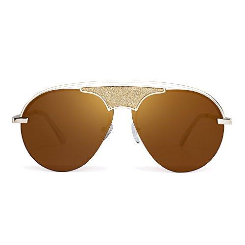 JIM HALO Randlos Flieger Sonnenrbille Metall Flach Top Designer Brille Getönt Damen Herren(Gold/Braun)