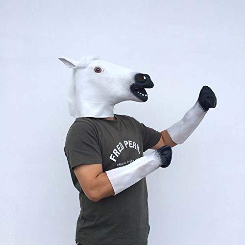 Fazeer Erwachsene Natürliche Latex White Horse Head Mask + Silicone Horseshoe Kostüme Halloween Party Animal Head - White Horse Head Kostüm