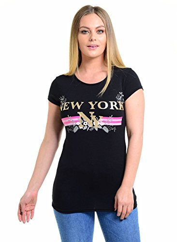 New Women Round Neck Glitter Print New York Guilty Bonjour Celeb Inspired Short Sleeve Tee T Shirts Top