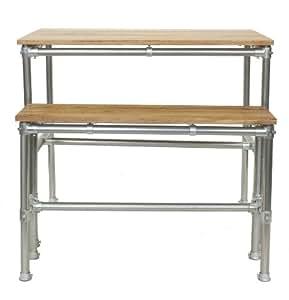 set bartisch 120 x 80 cm barbank eiche furniert mit stahlrohrgestell k che haushalt. Black Bedroom Furniture Sets. Home Design Ideas