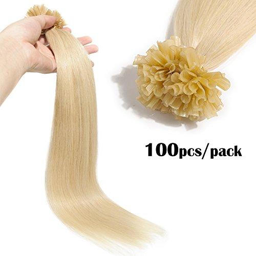 TESS Extensions Echthaar Bondings 1g Keratin Haarverlängerung Remy Human Hair Extensions U-Tip 100 Strähnen 100g-50cm(#60 Weißblond)