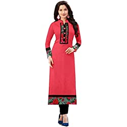 StrinceWomen's New Fashion Designer Fancy Wear Collection Low Price Todays Best Special Deal Offer All Type Of Modern Cotton Pink Straight Kurti