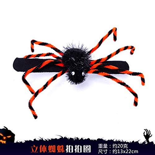 AHBPF Halloween Dekorationen Spinnen Pat Schwarz Kopf Schnallen Horror Kostüme Scary Big Spiders, Dreidimensionale Spider Beat Kreis, 13 * 22 - Baby Beats Kostüm