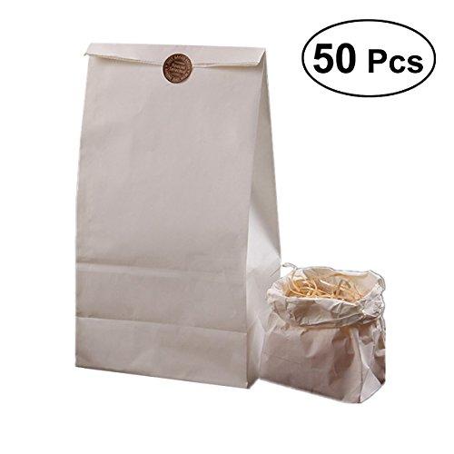 BESTONZON 50 Stücke Kraftpapier Tasche Einweg Kraftpapier Tasche für Bräter Lebensmittel Nüsse Grill Verpackungsbeutel (Weiß Typ 3)