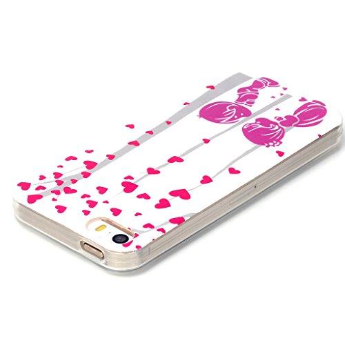 Apple iPhone 5/5S Silikon Hülle - Felfy Ultra Slim Weicher Flexible Gel TPU Schutzhülle Silikon Case Durchsichtig Painted Niedlich Muster Silikon Ultradünnen Kratzfeste Handyhülle Bumper Case Tasche E Liebhaber