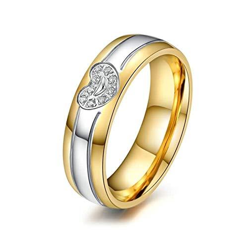 SonMo 925 Ring Damen Trauringe Verlobungsring Eheringe Herz Gold Trauringe Zirkonia für Frauen 62 (19.7)