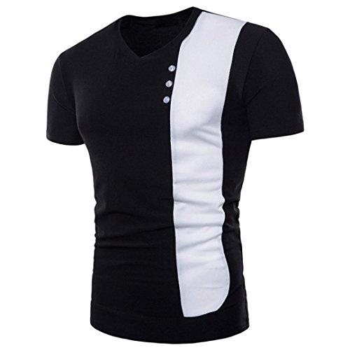 ASHOP Herren Basic Kurzarm V -Ausschnitt Slim Fit Muskelshirt Baumwollmischung T-Shirt, Schwarz und Weiß (XL, Schwarz)