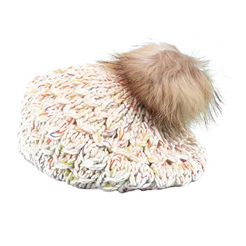 Nosterappou Dicke warme Mädchen Herbst- und Winterhüte, dehnbarer Kopfumfang, weich und bequem, Winddicht warm im Freien, weichen Gaumen tragen, Flauschige niedliche, weibliche ()