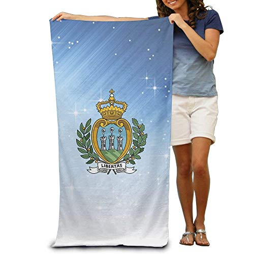 yiyuanyuantu Coat of Arms of San Marino Adult Beach Towels Fast/Quick Dry Machine Washable Lightweight Absorbent Plush Multipurpose Use for Swim,Beach,Camping,Yoga