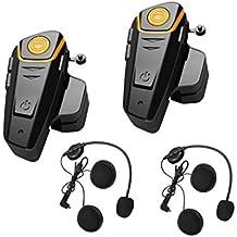 ENCHICAS 2x Resistente al Agua Auriculares para Motocicleta Casco Bluetooth Manos Libres Intercomunicador Interphone Moto Intercom Walkie Talkie (Radio/Música Del Teléfono/1000M/Cargador Tipo U.E)