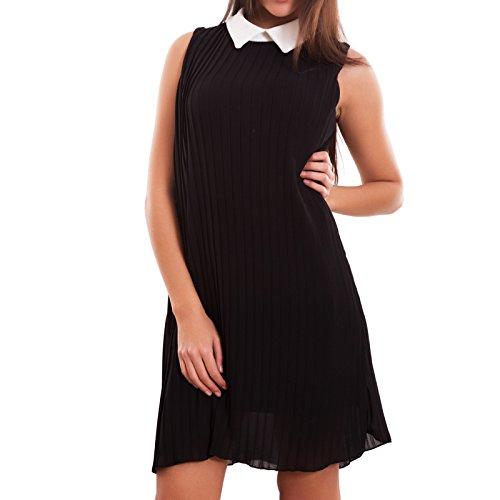 Toocool - Vestito donna miniabito abito bon ton plissettato velato colletto nuovo CJ-2075 Nero