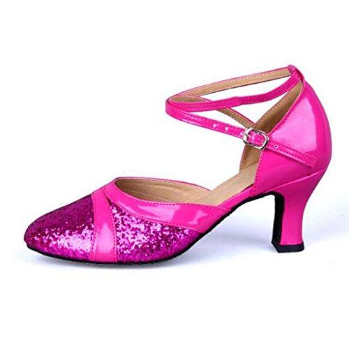 W&LM Signorina Scarpe da ballo Bottone morbido Scarpe da ballo latino A basso e con Standard nazionale Piazza Amicizia Scarpe da ballo Pink