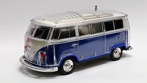 Bluetooth Box Bus mit LED - Crystal Car Speaker Multimedia Radio mit MircroSD Slot USB (Blau)