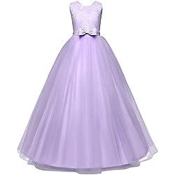 Vestido Elegante para Fiestas. El mejor Regalo de Reyes (púrpura, 4-5 años)