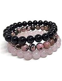 """Triple Bracelet Mala""""Confiance en l'Amour"""" en Perles de Quartz Rose, Rhodonite et Onyx - Bracelet en Pierres Naturelles"""