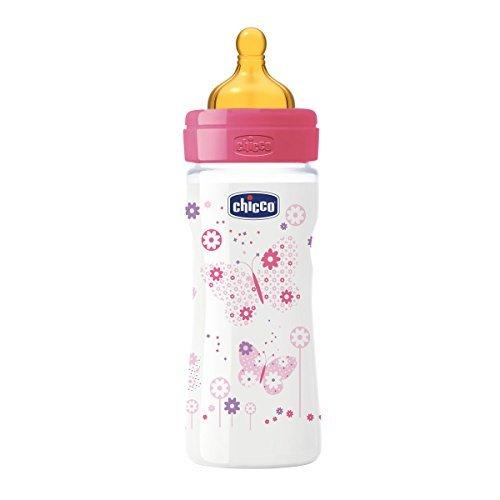 Chicco biberon pp tetina caucho flujo medio 2m+ rosa 250 ml