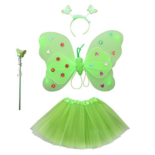 Gazechimp 4pcs Ala de Mariposa + Varita Mágica + Venda + Falda de Tutú para Disfraces de Niñas Nilón Felpa Decoración de Fiesta de Niños 8 Colores - Verde