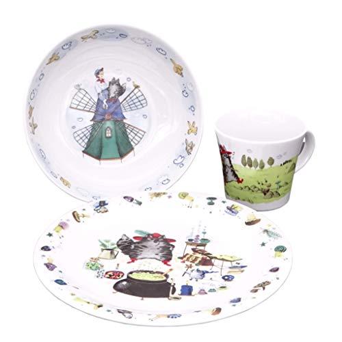 Kahla 32D200A50567C Kids gestiefelter Kater Kinderset 3 teilig Porzellan Kindergeschirr Dekor bunt Teller Tasse Suppenteller Kinderservice