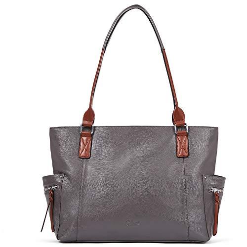 CLUCI Echtes Leder Damen Handtaschen Designer Groß Laptoptasche Mode Tote Henkeltaschen für Frauen grau - Leder-designer-handtasche