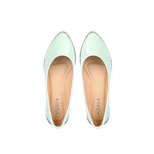 Ideal-Shoes Ballerinas Spitzpinsel spitz und strassé Soline Sohle Grün - grün
