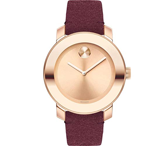 Movado Women's Bold 36mm Red Leather Band Steel Case Quartz Watch 3600447