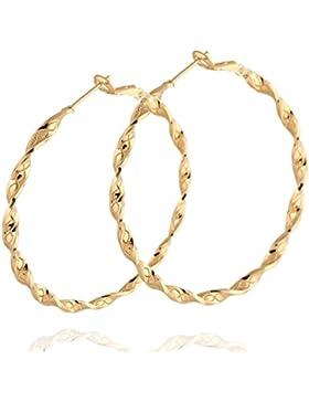 Frauen Creolen Gold verdrehtes Design rund große Ohrringe vergoldet
