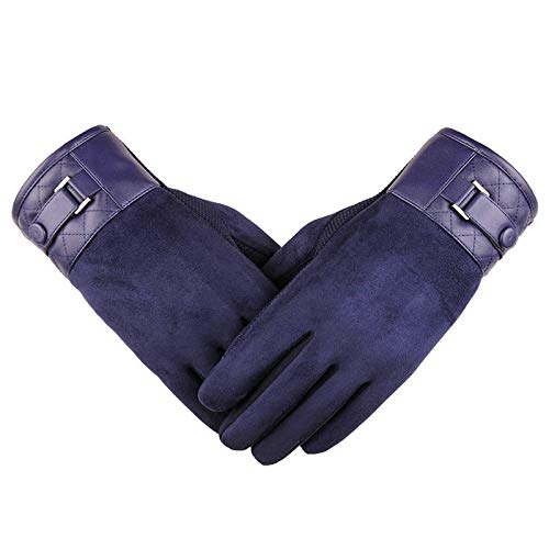 Preisvergleich Produktbild LOUMVE Touchscreen Handschuhe Winter Warme Cashmere Fahrhandschuhe Blau-Check Freie Größe