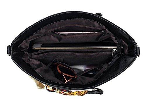 Frau Schultertasche Messenger Bag Handtasche Schal Schaffell-Muster Black