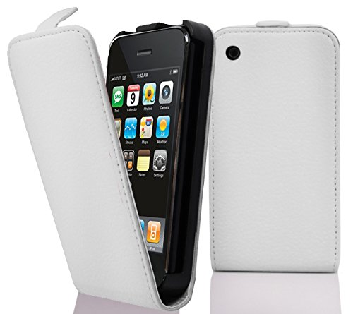 Cadorabo Hülle für Apple iPhone 3/ iPhone 3GS Hülle in Handyhülle aus strukturiertem Kunstleder im Flip Design Case Cover Schutzhülle Etui Tasche Magnesium Weiß Iphone 3g Leder-etui