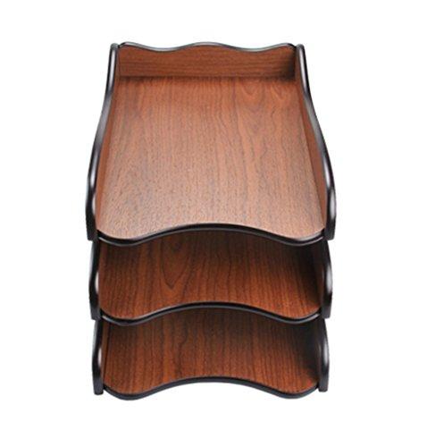 JIN PING Beautiful Homes® Soporte de libro, bandeja de archivos de escritorio de madera creativa de tres niveles engrosada