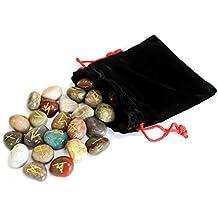 Mixed Gemstone Futhark runas en bolsa de terciopelo para Adivinación y mágico Talisman
