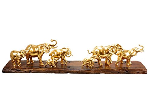 Moderne Kunst - Vergoldete Elefantenherde - signiert Milo - XXL Elefantenfigur - Tierskulpturen online kaufen - 170cm lang - Echt Blattgold - Einzigartig