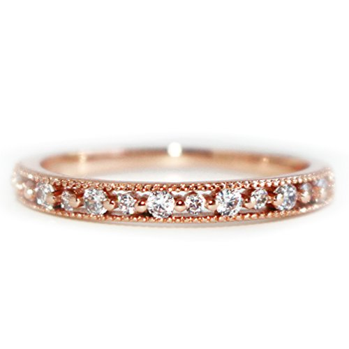 Excelsia -Lilou- 14K Rose Gold-Plated CZ Crystal Dainty Ring, Size M 1/2 (Touchstone Crystal Schmuck)