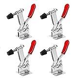 FOLLOWUS 201B Knebelklemme / Kniehebelspanner, mit rotem Handgriff, horizontal, Schnellverschluss, 4 Stück