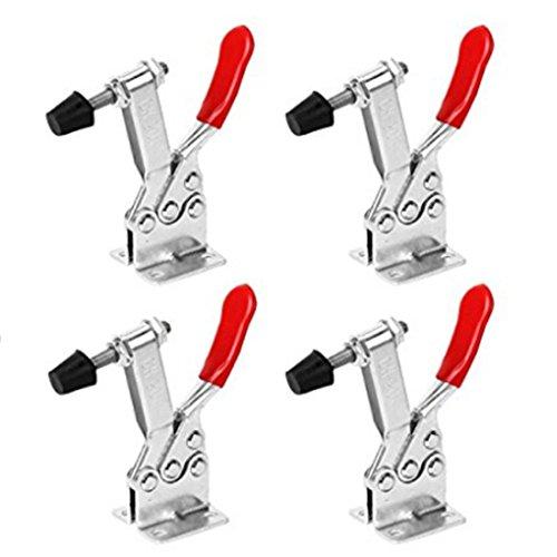 FOLLOWUS 201B Knebelklemme/Kniehebelspanner, mit rotem Handgriff, horizontal, Schnellverschluss, 4 Stück