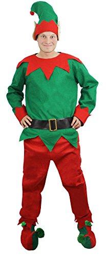 ILOVEFANCYDRESS Pantaloni costume da elfo, con unisex cappello cintura scarpe Natale costume da aiutante di Babbo Natale | nelle taglie dalla S alla XXL