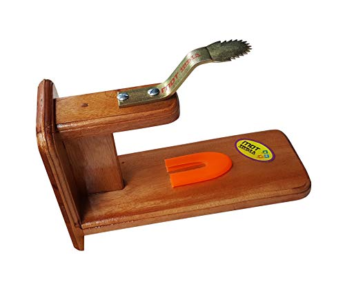 MDT India Table Top Polished Wooden Coconut Scraper Grater Shredder Movable Chirava Place Anywhere