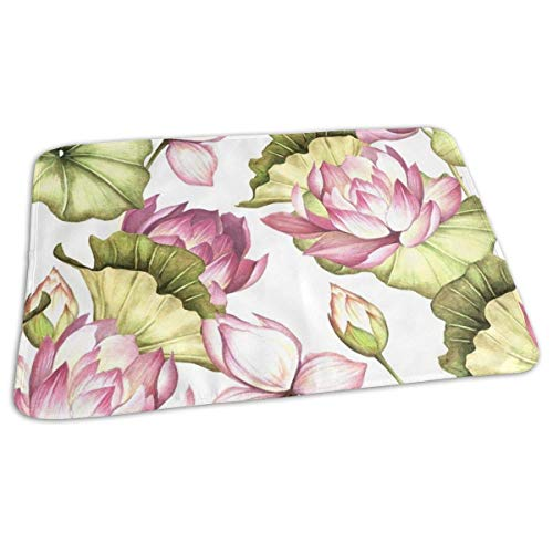 Kotdeqay Baby Changing Pad Liners Pink Lotus Daily Use Diaper Changing Pad Mats Portable Pad 25.5x31.5 Inches